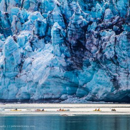 Kayakers In Front Of Lamplugh Glacier, Glacier Bay National Park, Alaska, USA