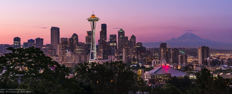 Panorama: Before Sunrise In Seattle, Washington, USA
