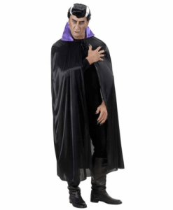 BLACK CAPE WITH PURPLE SATIN COLLAR