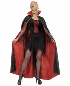 BLACK-RED LINED SATIN CAPE