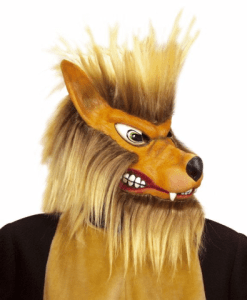 WOLF MASK WITH PLUSH HAIR