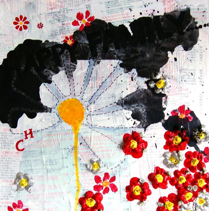 Robin Walker - Happy Family - acrylic paper thread on canvas 12X12: 2011 200.00