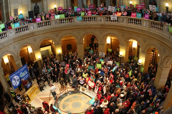 The rotunda of the State Capitol is filled with pro-life supporters, who came to make their voices heard to legislators and Gov. Mark Dayton.