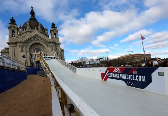 The Cathedral east rose window is directly above the starting line of the Red Bull Crashed Ice course. Dave Hrbacek/The Catholic Spirit