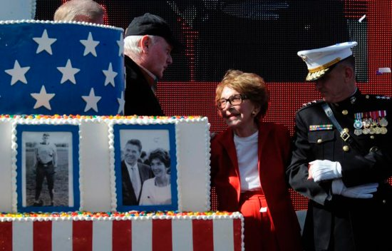 Former first lady Nancy Reagan celebrates what would have been U.S. President Ronald Reagan's 100th birthday in Simi Valley, Calif., in this Feb. 6, 2011, file photo. CNS photo/Mike Nelson, EPA