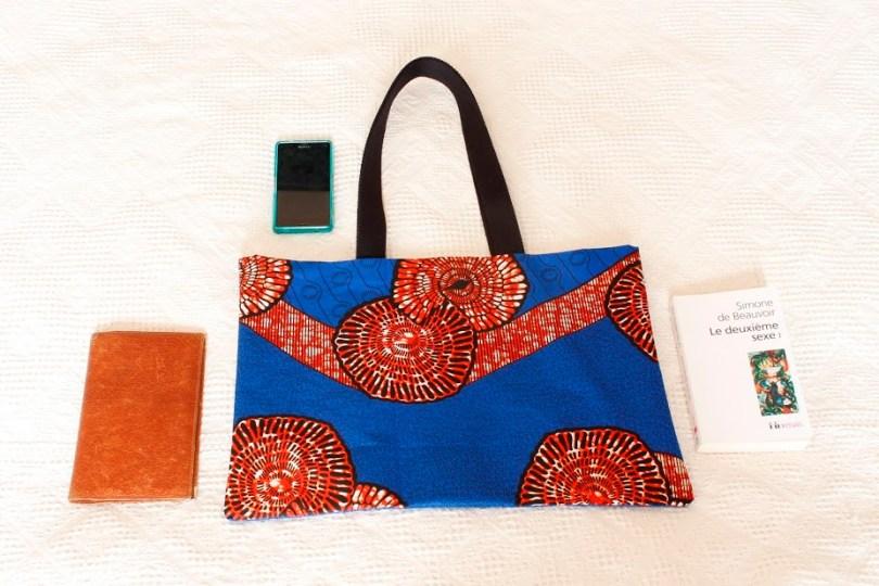 Sac Back to school batik africain bleu roi orange foncé et noir - Kaynassen (1)