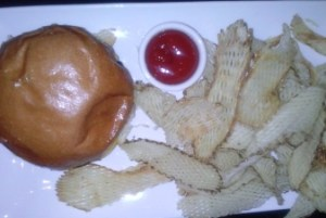 Double Cheese Burger with house made potato chips