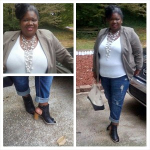Olive Blazer- Lane Bryant Seven Boyfriend Jeans- Lane Bryant  Booties-Lane Bryant Necklace- Gems and Baubles Handbag-  Gifted