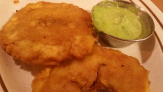 Tostones with their secret sauce they wouldn't tell me what's in it