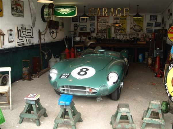 Anachronism is perfected in this Goodwood Aston Martin garage