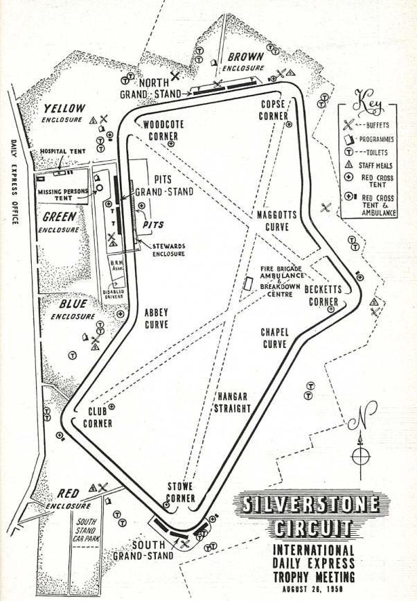 Silverstone Track Map 1950
