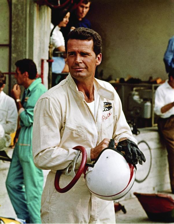 James Garner on the set of Grand Prix. 1966.