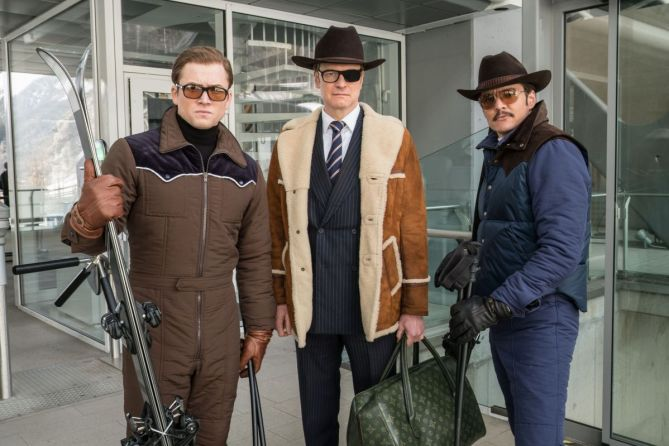 "DF-28050_r - Taron Egerton, Colin Firth, and Pedro Pascal star in Twentieth Century Fox's ""Kingsman: The Golden Circle,"" also starring Julianne Moore, Channing Tatum, Mark Strong, Elton John, Halle Berry and Jeff Bridges."