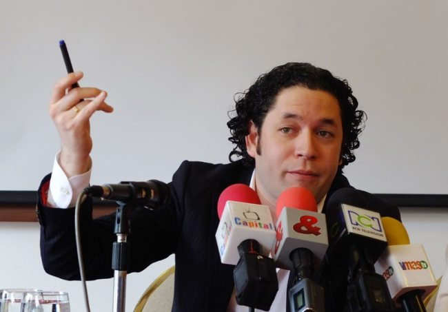 Venezuelan conductor Gustavo Dudamel meets the media as he prepares Wagner for the city.