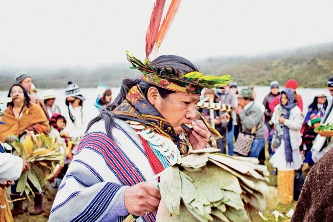 Gathering of indigenous leaders from across Colombia to honor Mother Earth in the Sumapaz wetlands. Photo: Eden Krsmanovic
