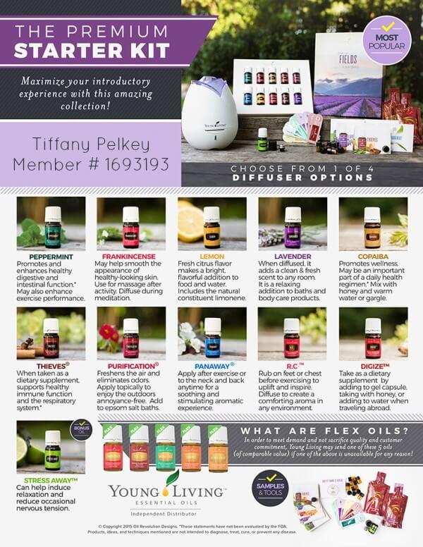 Young Living Premium Starter Kit flyer for Tiffany Pelkey