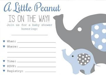 Baby Boy Elephant Themed Shower Invitations