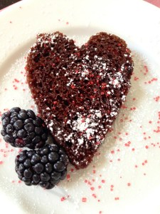 For Valentine's Day, cut Bundt Cake in 1 inch slices and use a heart cookie cutter to shape.