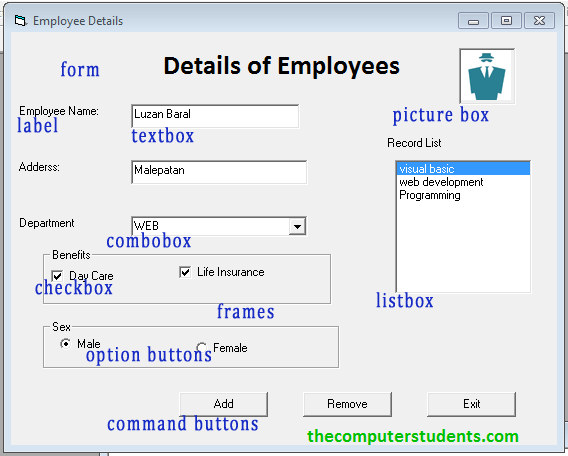 Some common Visual Interface Components