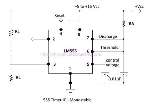 555 timer ic as monostable multivibrator