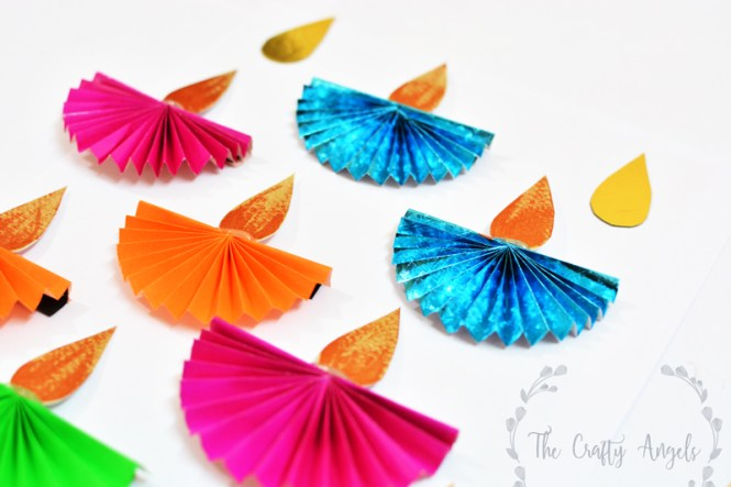 Diwali craft for kids paper diya the crafty angels for Art and craft for diwali decoration