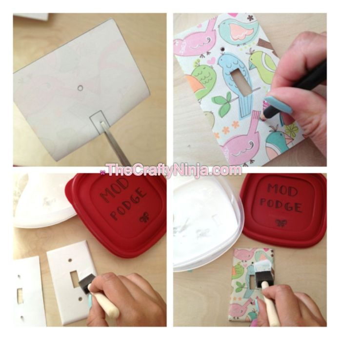scrapbook paper mod podge wall plates steps