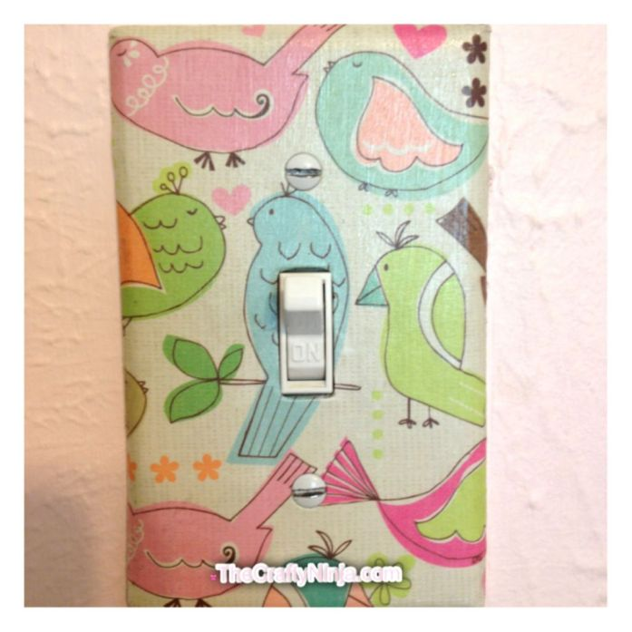 scrapbook paper mod podge wall plates
