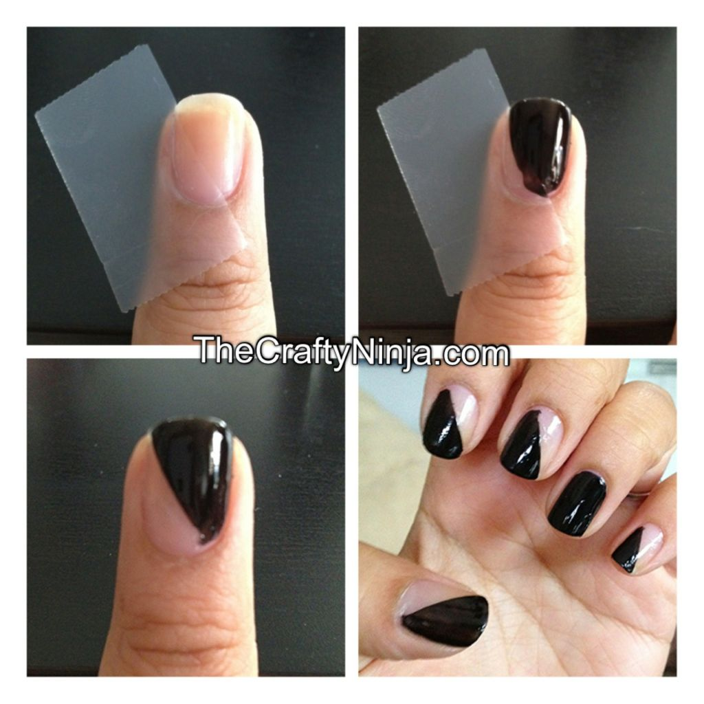 Easy Nail Art Using Tape: Diagonal Nail Tape Mani