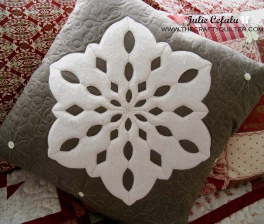 Snowflake Pillow by Julie Cefalu @ The Crafty Quilter