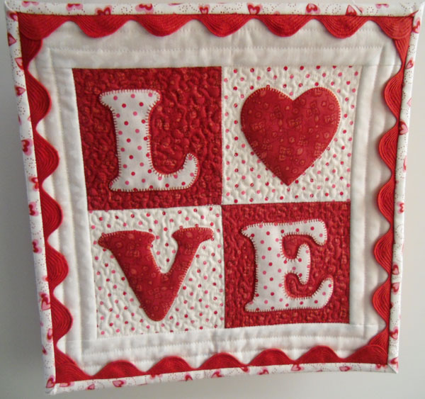 LOVE Letter mini quilt at The Crafty Quilter