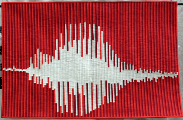 """1st Place, Small Quilts: """"What's The Frequency, Love?"""" by Sheri Cifaldi-Morrill"""