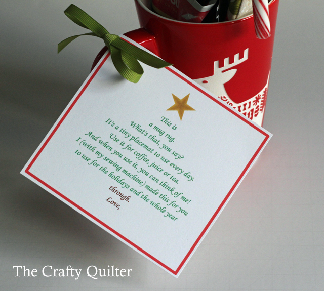 Mug Rug Poem by Angie Costa, shared at The Crafty Quilter