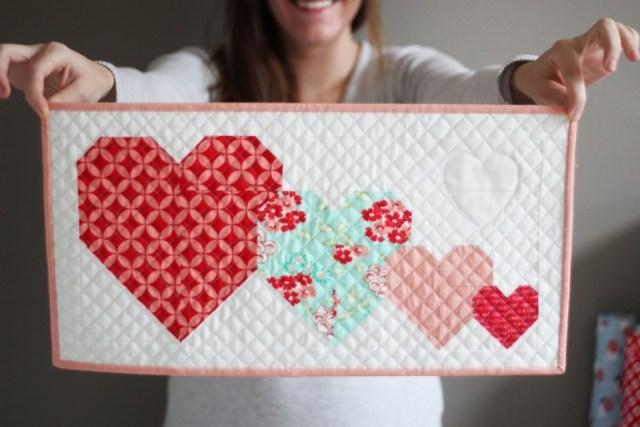 I heart you mini quilt