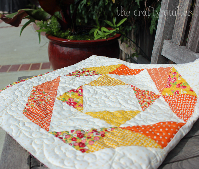 Triangle Tricks Table Topper made by Julie Cefalu @ The Crafty Quilter