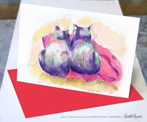 Purple Cats Red Blanket