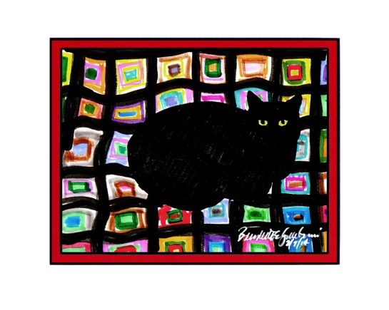 """Mewsette on the Afghan"" matted print."