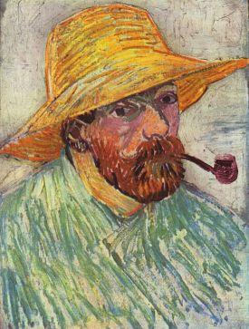 Autorretrato con sombrero de paja y pipa (1888)