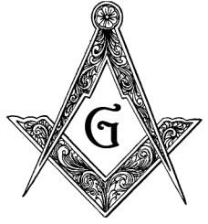Escuadra y Compás. La G representa al Gran arquitecto del universo