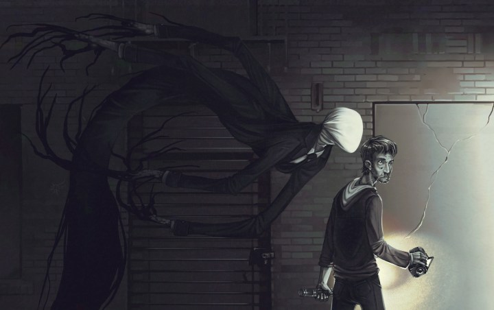 Dvan7, The Slender Man, Flashlight, Marble Hornets Project, Faceless, Extra Arms, No Eyebrows tomado de DeviantART,