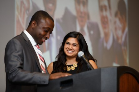 As the leaders of the 50th administration of the Student Government Association bid farewell to a year of service, former VP Rani Ramchandani and cabinet members presented a surprise gift to former President Cedric Bandoh--a scrapbook--in memory of his service as the youngest SGA president at the University. | Justin Tijerina/The Daily Cougar