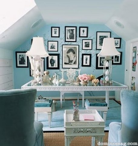 Blue and White Feminine Office Feminine and Fun Office Spaces