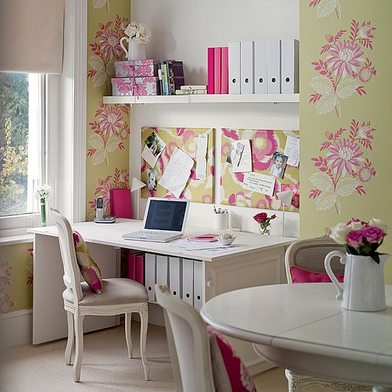 Floral Home Office from ehow Feminine and Fun Office Spaces