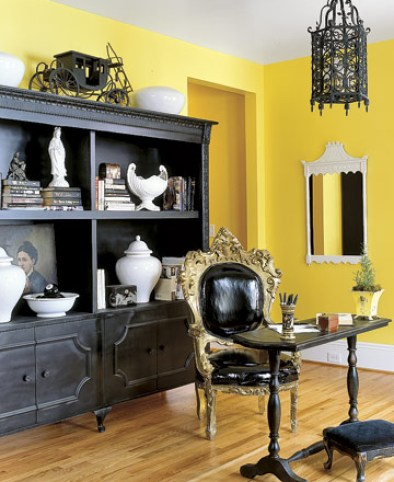 Yellow and Black Office from Country Living Feminine and Fun Office Spaces