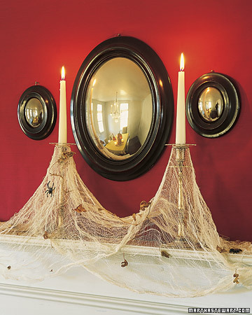 cheesecloth spiderwebs on candles halloween Halloween, Martha Style