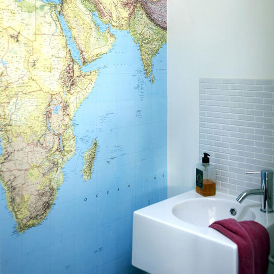 Bathroom Wall Map via apartment therapy Decorating with Maps