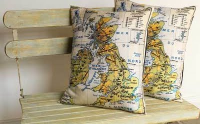 Map Pillows from The Lennoxx Decorating with Maps