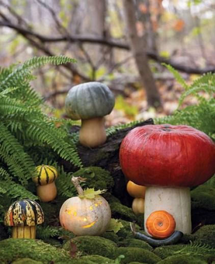 Toadstool Pumpkins via Martha Stewart Easy Peasy Ways to Decorate a Pumpkin