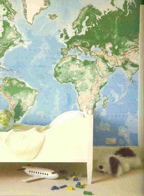 kids room world map via anita kaushal Decorating with Maps
