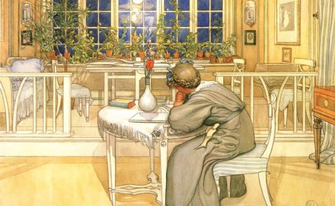 larssons evening before journey to england Carl Larsson's Inspirational Interiors