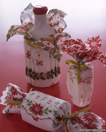 vintage linens for christmas gift wrap Simple and Cheap Christmas Gift Wrap Ideas